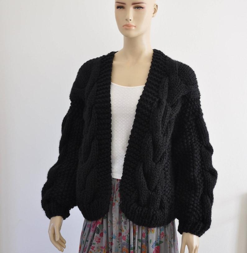 b3e08699d177 Black Oversized Knit Cardigan Women Chunky Cardigan Wool