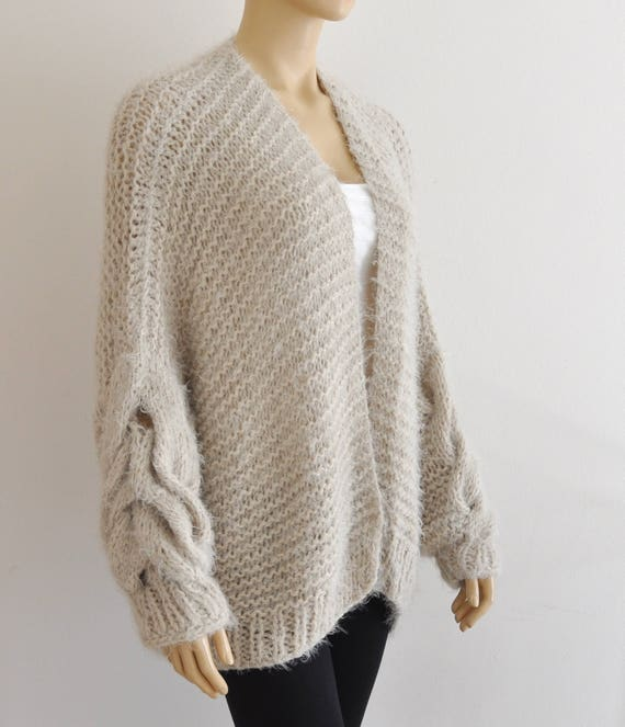 Knitted Beige Cardigan Oversized Hand Chunky Knit Jacket Cable 6FTxw6Cq