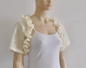 Wedding Shrug Bolero, Bridal Bolero, Wedding Bolero, Bridal Shrug, Wedding Jacket Bride, Cover Up Ruffles