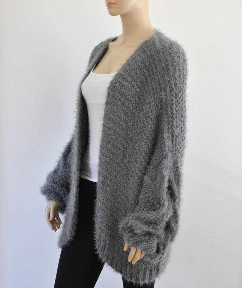 c26a95029a Gray Oversized Knit Cardigan Chunky Cable Knit Jacket Sweater Cardigan  Slouchy F... Gray Oversized Knit Cardigan Chunky Cable Knit Jacket Sweater  Cardigan ...