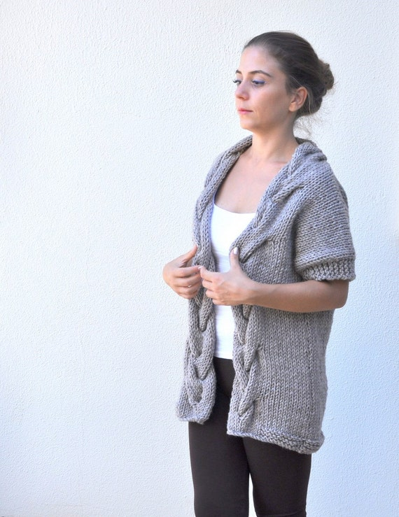 Sweater Knit Jacket Knitwear Sweater Cable Cardigan Hand Light Oversize Winter Chunky Women's Brown 6xdw86