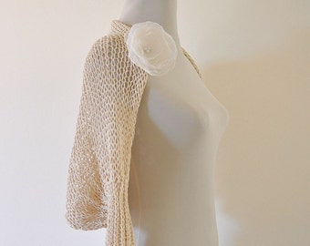 Knit Bolero Shrug Cotton Bridal Shrug Oat Eco Friendly Spring Summer