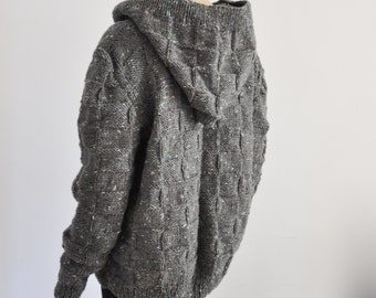 Hooded Cardigan Knit Chunky Warm Dark Gray