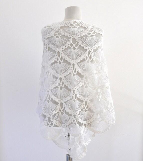 Crochet blanco chal chal novia estola abrigo de Mohair   Etsy