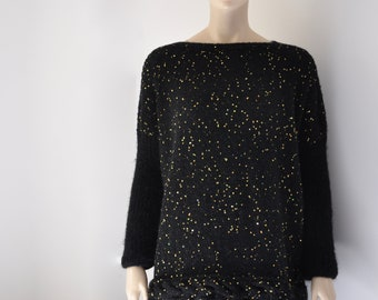 Black Oversized Sweater Mohair Plus Size Sweater with Golden Sequins Chunky Overcoat Hand Knitted