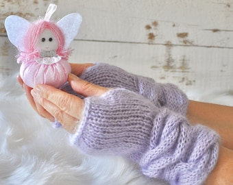 Cable Knit Gloves Purple Mohair Fingerless Mittens Arm Warmers Winter Gloves