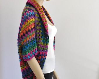 Rainbow Afghan Crochet Cardigan Oversized Women Jacket Fall Winter Fashion Knit Accessories