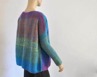 Hand Knit Sweater, Oversized Sweater, Women Chunky Sweater Pullover, Rainbow, Knit Fashion