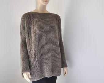 Hand Knitted Brown Women Oversized Sweater, Chunky Knit Sweater Cardigan, Wool Linen Plus Size Sweater Tunic