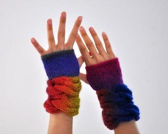 Fingerless Gloves Wrist Warmers Mittens Wool Purple Pink Green Neon Brick Blue Navy Marine Colorful Warm