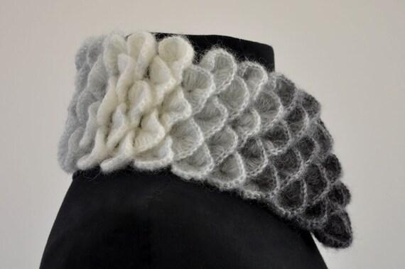 Echarpe col cache-cou Crochet Mohair blanc gris noir Ombre Chic élégant 0ee7dd14344