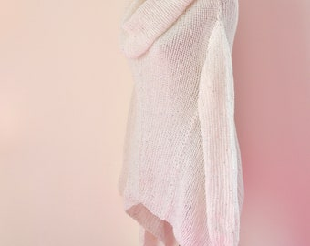 White Cowl Neck Sweater with Silver Sequins Bohemian Sweater Long Sleeved Knit Top Mohair
