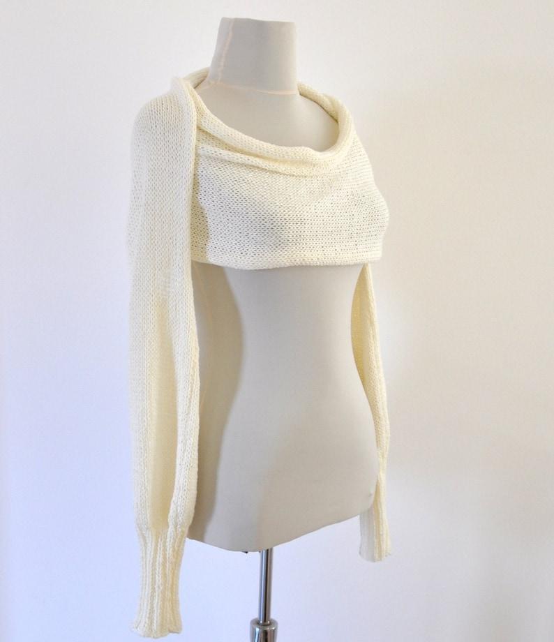 b89eb0319a7 Womens Scarf Sweater Cardigan Wrap Sweater Bridal Shrug Bolero Wedding  Jacket Ivory Cream Long Sleeved Bridal Accessories