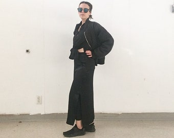 Long black satin skirt. S