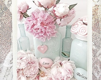 Peonies Love Believe Note Cards, Shabby Chic Peonies, Peony Floral Note Cards, Shabby Chic Note Cards, Peony Flowers Love & Believe Cards