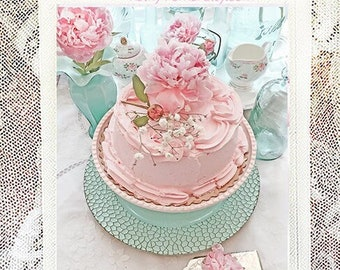 Peonies & Pink Cake Note Cards, Shabby Chic Note Cards, Peony Flower Note Cards, Peonies Cake Afternoon Teatime, Peonies Cake Greeting Cards