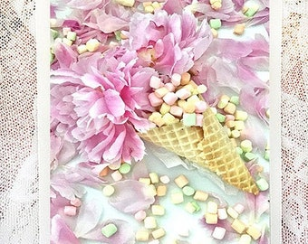 Peonies Waffle Cone Greeting Cards, Waffle Cone Flower Note Cards, Flower Note Cards, Flower Greeting Cards, Shabby Chic Flower Note Cards