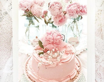 Peonies & Pink Cake Note Cards, Shabby Chic Note Cards, Peony Flower Note Cards, Peonies and Cake Afternoon Teatime, Floral Greeting Cards