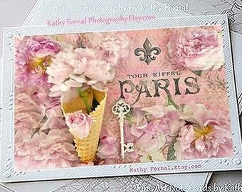 Paris Note Cards, Paris Peony Note Cards, Paris Greeting Cards, Paris Cone Flower Note Card, Paris Stationery Note Cards, Paris Photo Cards