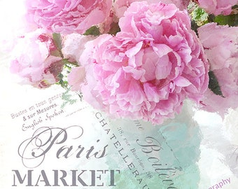 Pink Peony Prints, Impressionistic Peony Print, Paris Peonies, Paris Art, Paris Peony Prints, Shabby Chic Pink Aqua Peony Floral Art Prints