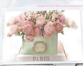 Paris Floral Photo Greeting Cards, Shabby Chic Note Cards, Paris Note Cards, Parisian Decor, Paris Flower Photo Art Note Card, Paris Laduree
