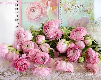 Flower Photography, Ranunculus Floral Prints, Shabby Chic Decor, Flower Print, Ranunculus Flowers, Shabby Chic Flower Print, Floral Love Art