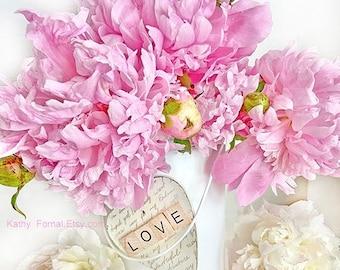 Peony Prints, Shabby Chic Decor, Pink Peonies & Love Heart Prints, Peony Photos, Peony Flowers Wall Art Decor, Pink Peony Flower Photography