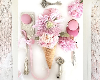 Peony Flower Note Cards, Macarons & Peonies Flower Note Cards, Shabby Chic Decor, Ice Cream Cone Flower Kitchen Decor, Flower Cone Prints
