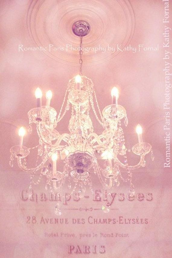 Paris Crystal Chandelier Print, Pink Chandelier Wall Art