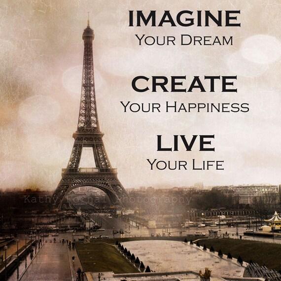 Paris Photography Eiffel Tower Sepia Typography Life