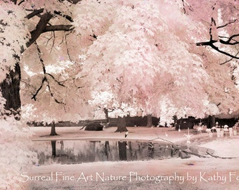 Pink Nature Photography, Dreamy Pink Nursery Room Decor, Baby Girl Nursery Print, Fairytale Trees, Pink Flamingos, Girls Room Pink Nature