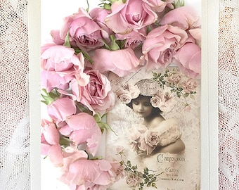 Romantic Roses Note Cards, Flower Note Cards, Floral Note Card, Shabby Chic Note Cards, Paris Note Cards, Victorian Girl Roses Greeting Card