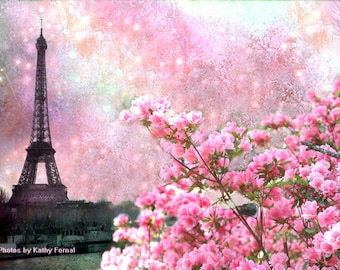 Paris Photography, Eiffel Tower Pink Floral, Paris Pink Blossom Art Prints, Paris Pink Eiffel Tower Wall Decor, Paris Pink Cherry Blossoms