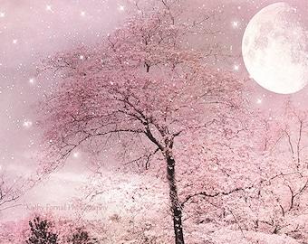 Nature Moon Trees Print, Fairytale Blush Pink Nature Prints, Dreamy Pink Trees Moon Stars, Fantasy Pink Moon Stars, Baby Girl Nursery Decor