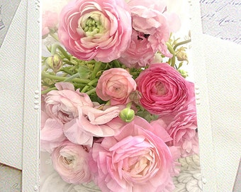 Floral Note Cards, Ranunculus Flower Notecards, Peony Roses Floral Note Card, Shabby Chic Decor, Flower Photography, Peony Flower Note Cards