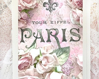 Paris Note Cards, Paris Flower Note Card, Paris Greeting Cards, Paris Roses Floral Notecard, Paris Stationery Note Cards, Paris Photo Cards