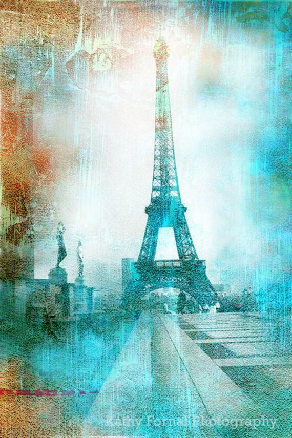 Paris Photography Eiffel Tower Aqua Teal Abstract Print Etsy