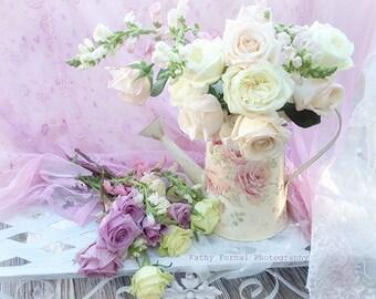 Romantic Roses Photography, Dreamy Roses Flowers Print, Summer Garden Roses Photos, Romantic Bedroom Art Decor, Dreamy Floral Roses Print