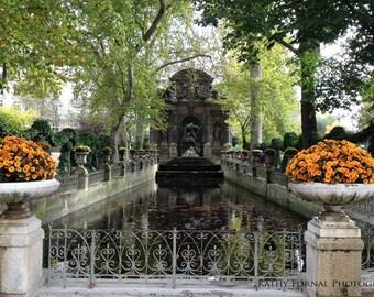Paris Photography, Luxembourg Gardens, Medici Fountain, Paris Autumn Fall Photography, Paris Fine Art Autumn Fall Prints, Paris Wall Art