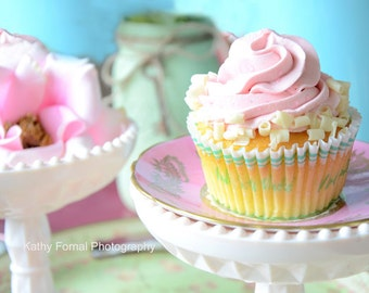 Cupcake Kitchen Art Print, Shabby Chic Decor, Pink Cupcakes Kitchen Wall Art Print, Cupcakes Food Art Wall Decor, Cupcake Food Photography