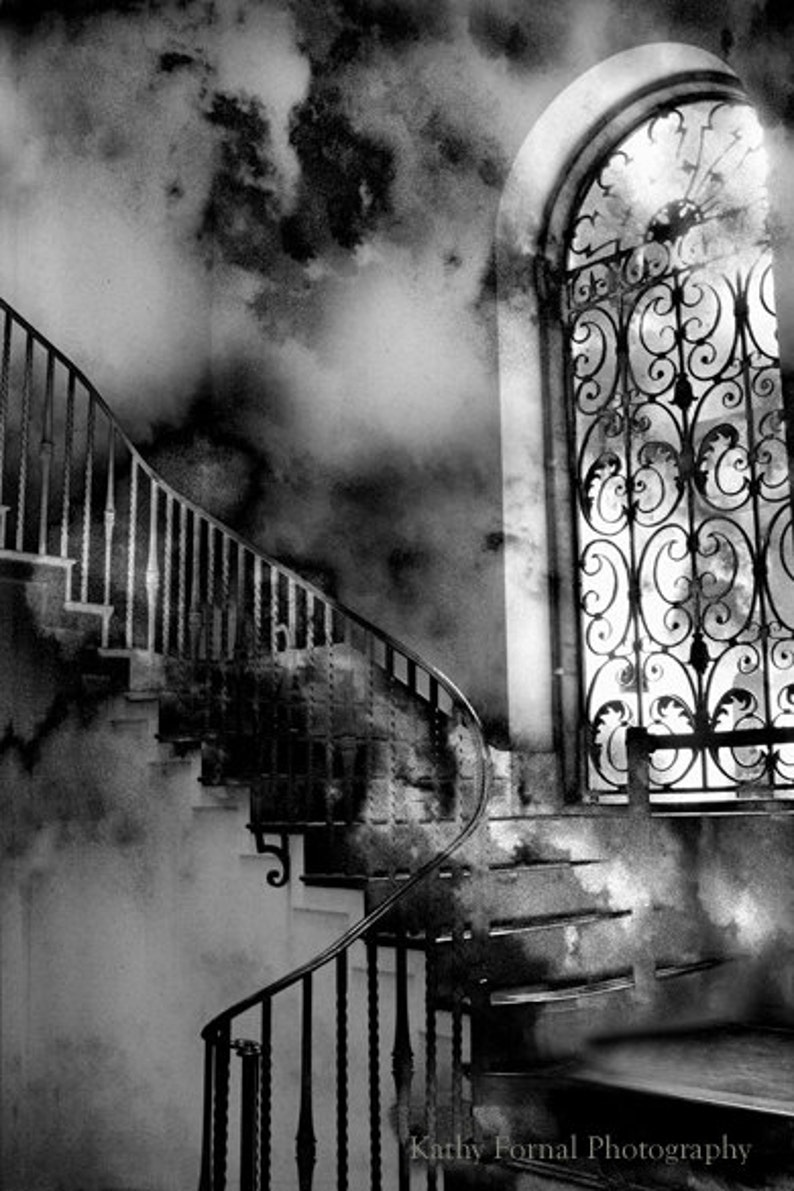 Gothic black white photography surreal gothic staircase haunting fantasy eerie spooky staircase surreal fantasy black and white print