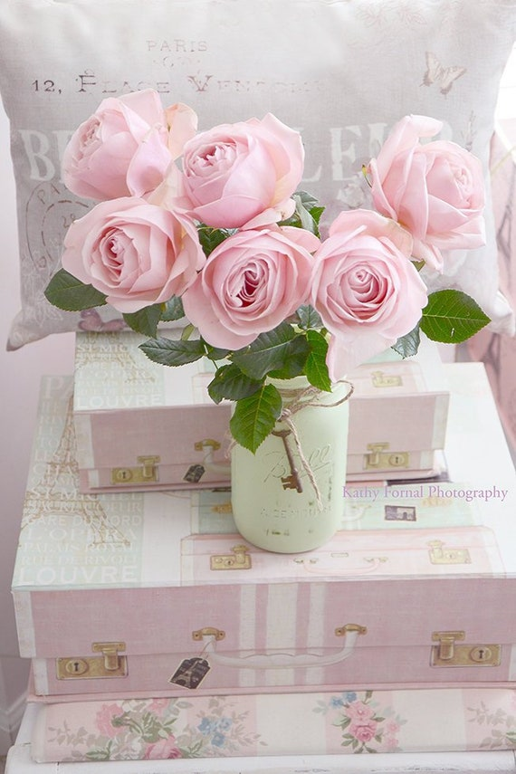 Shabby Chic-Dekor, rosa Rosen Schlafzimmer Dekor, verträumte rosa Rosen,  die Blumen Wand Kunstdrucke, romantische rosa Rosen, Shabby ...