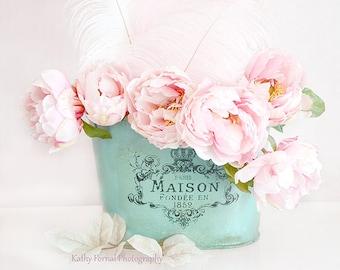 Paris Peonies Flower Photography, Dreamy Shabby Chic Decor, Pink Peony Prints, Pink Aqua Teal Peonies Floral Decor, Baby Girl Nursery Decor