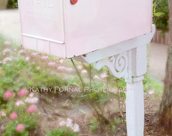 Pink Mailbox Note Card, Shabby Chic Decor, Cottage Pink Mailbox Note Card, Pink Mailbox Photo Note Cards, Shabby Chic Pink Mailbox Wall Art