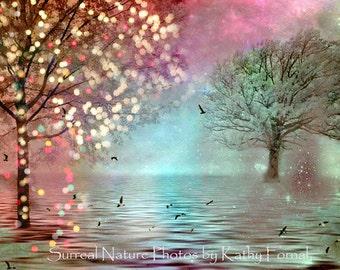 Fantasy Nature Fairy Lights, Pink Aqua Teal Twinkling Fairy Lights, Aqua Teal Fairytale Woodlands, Baby Girl Nursery Art, Nature Photography