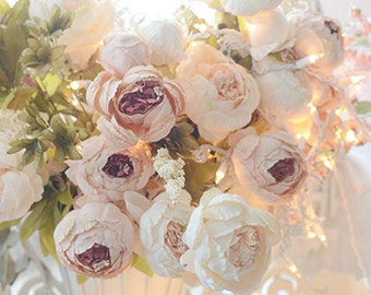 Peony Prints, Blush Pink White Peonies, Shabby Chic Decor, Peony Floral Photos, Peony Photos, Peonies In Basket, Peony Fine Art Photograph