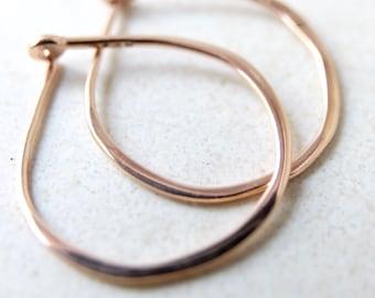 Medium Solid 14k Rose Gold Hoops - 3/4 Inch Hand Forged Solid Gold Hoops - 14 Karat Rose Gold Hoop Earrings