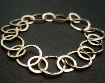 14k Gold Bang Bracelet - Solid 14k Yellow Gold Round Hammered Link Adjustable Bracelet