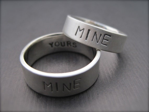 1.5mm You/'re Mine Sterling Silver Promise RingWedding Band Set I/'m Yours Rings