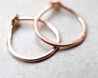 Small 14k Rose Gold Hoops -  5/8 Inch Hand Forged Solid Gold Hoops -  14 Karat Rose Gold Hoop Earrings